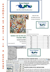 Bird Red Anemone Flower detail by William Morris Design Counted Cross Stitch  Pattern - Orenco Originals LLC