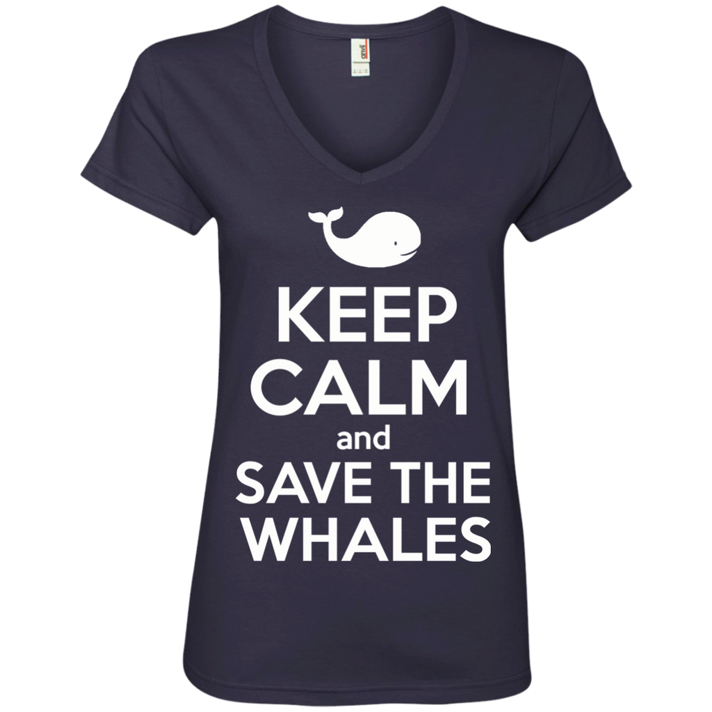 Keep Calm And Save the Whales Women's V-Neck T-Shirt