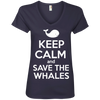 Image of Keep Calm And Save the Whales Women's V-Neck T-Shirt