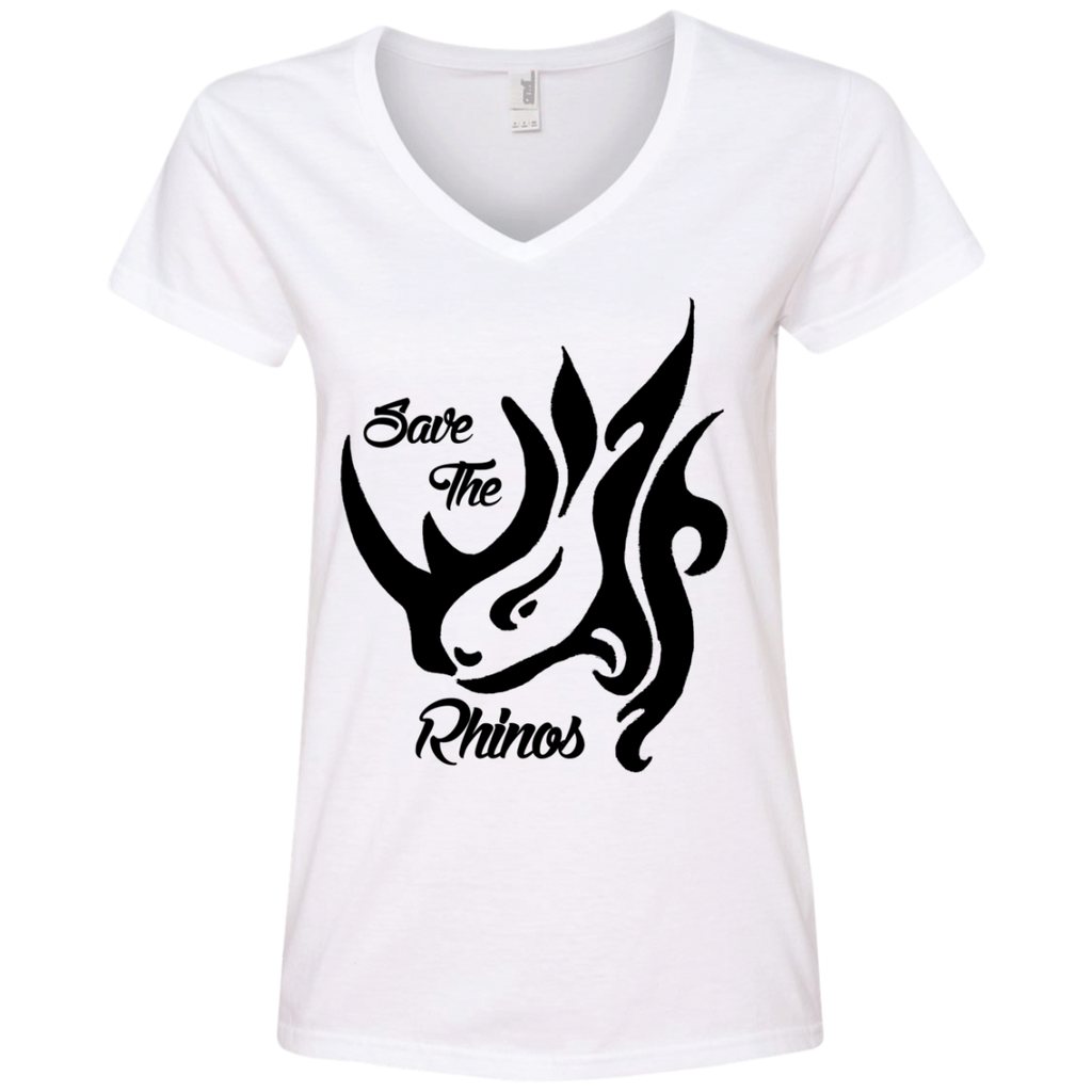 Save the Rhinos Awareness Women's V-Neck T-Shirt