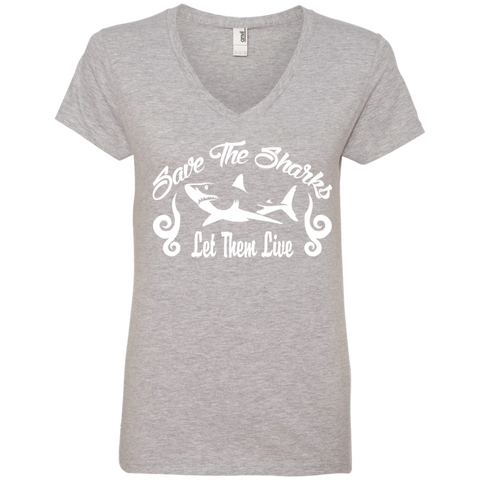Save the Sharks Let Them live Women's V-Neck T-Shirt