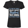Image of The Thing we Should Fear Most About Sharks is Their Looming Extinction Women's V-Neck T-Shirt