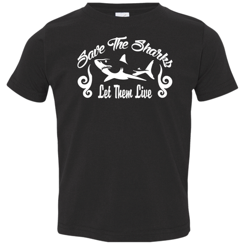 Save the Sharks Let Them live Toddler Jersey T-Shirt