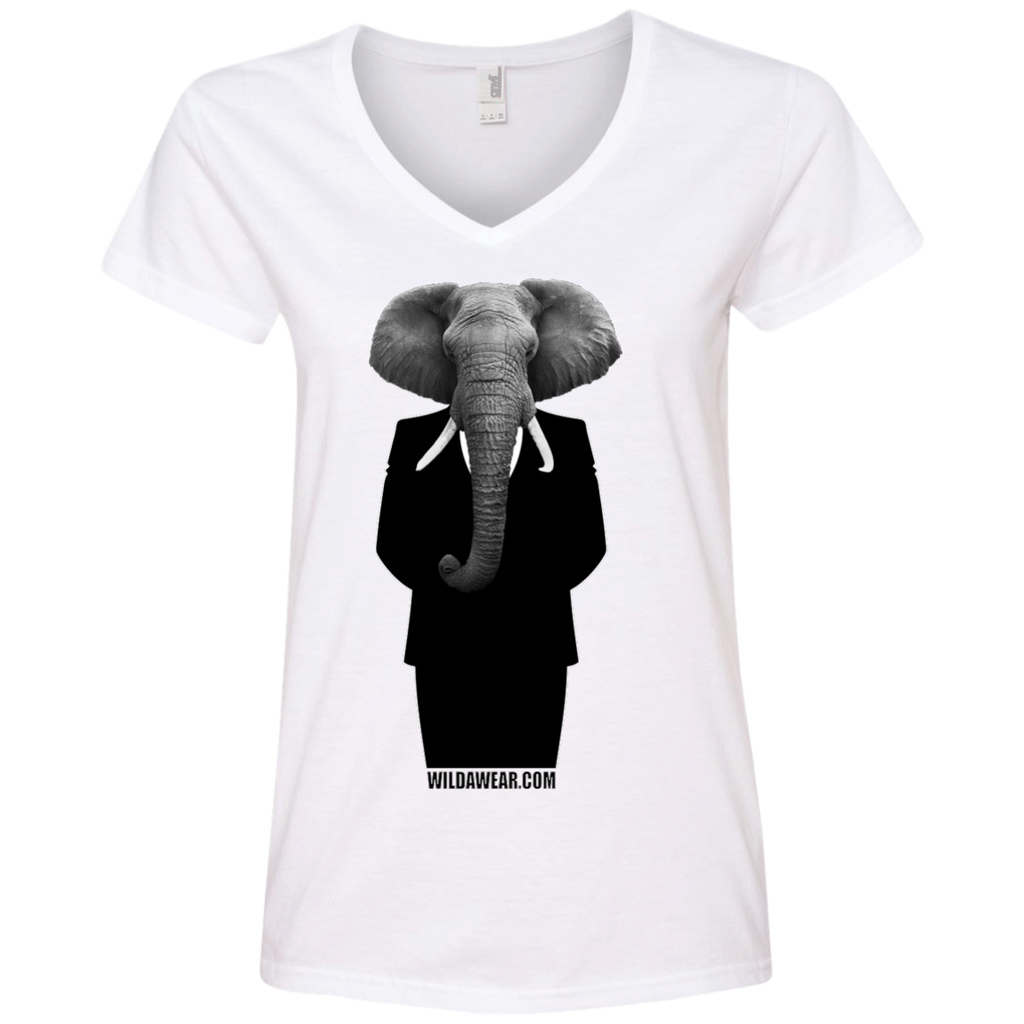 Talk About Elephants in Politic's Women's V-Neck T-Shirt