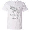 Image of Save the Sharks Tribal Men's V-Neck T-Shirt