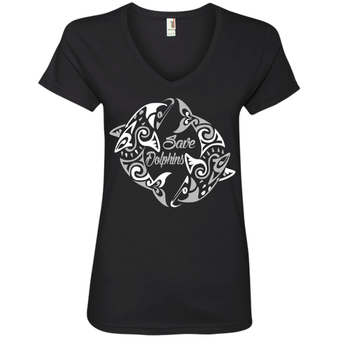 Save Dolphins Awareness Women's V-Neck T-Shirt