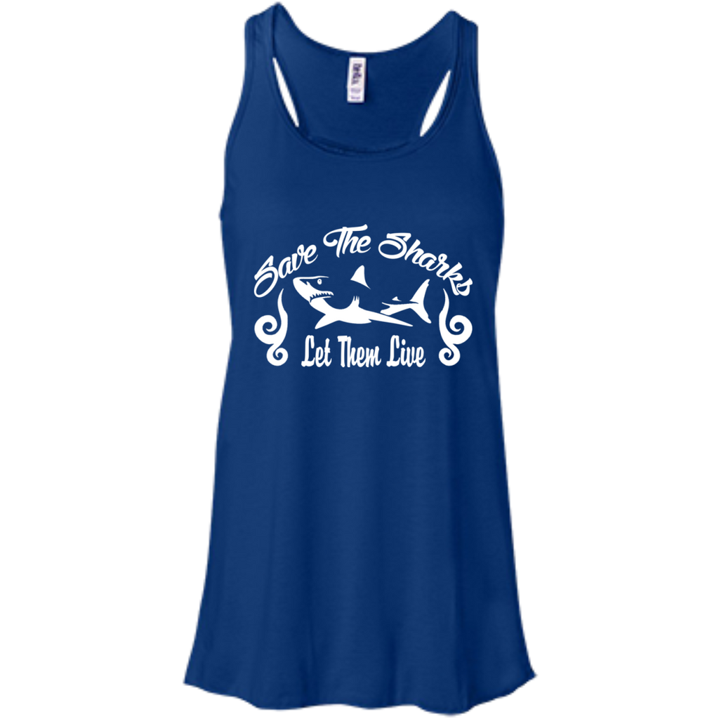 Save the Sharks Let Them live Women's Flowy Tank Top