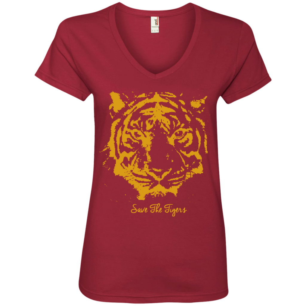 Save the Tigers Awareness Women's V-Neck T-Shirt