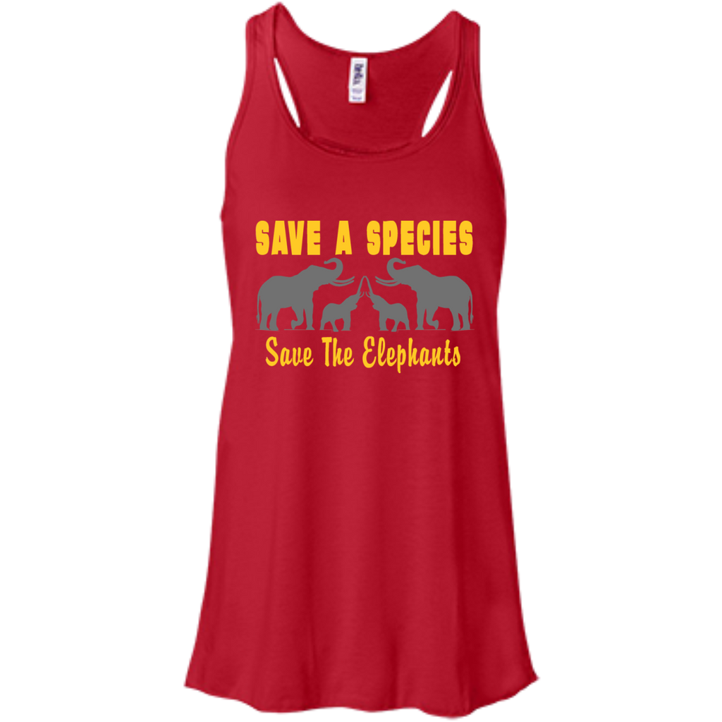 Save the Species Save the Elephants Awareness Women's Flowy Tank Top