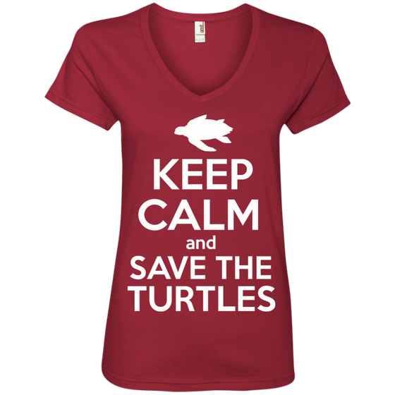Keep Calm And Save the Turtles Women's V-Neck T-Shirt