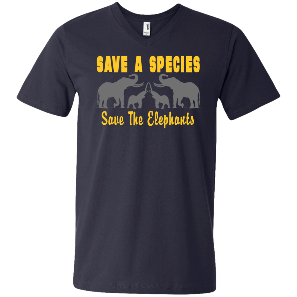 Save the Species Save the Elephants Awareness Men's V-Neck T-Shirt