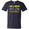 Image of Save the Species Save the Elephants Awareness Men's V-Neck T-Shirt