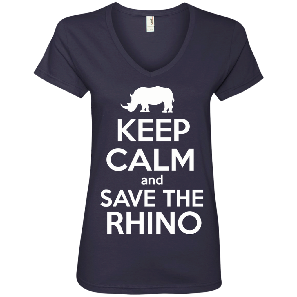 Keep Calm and Save the Rhino Women's V-Neck T-Shirt