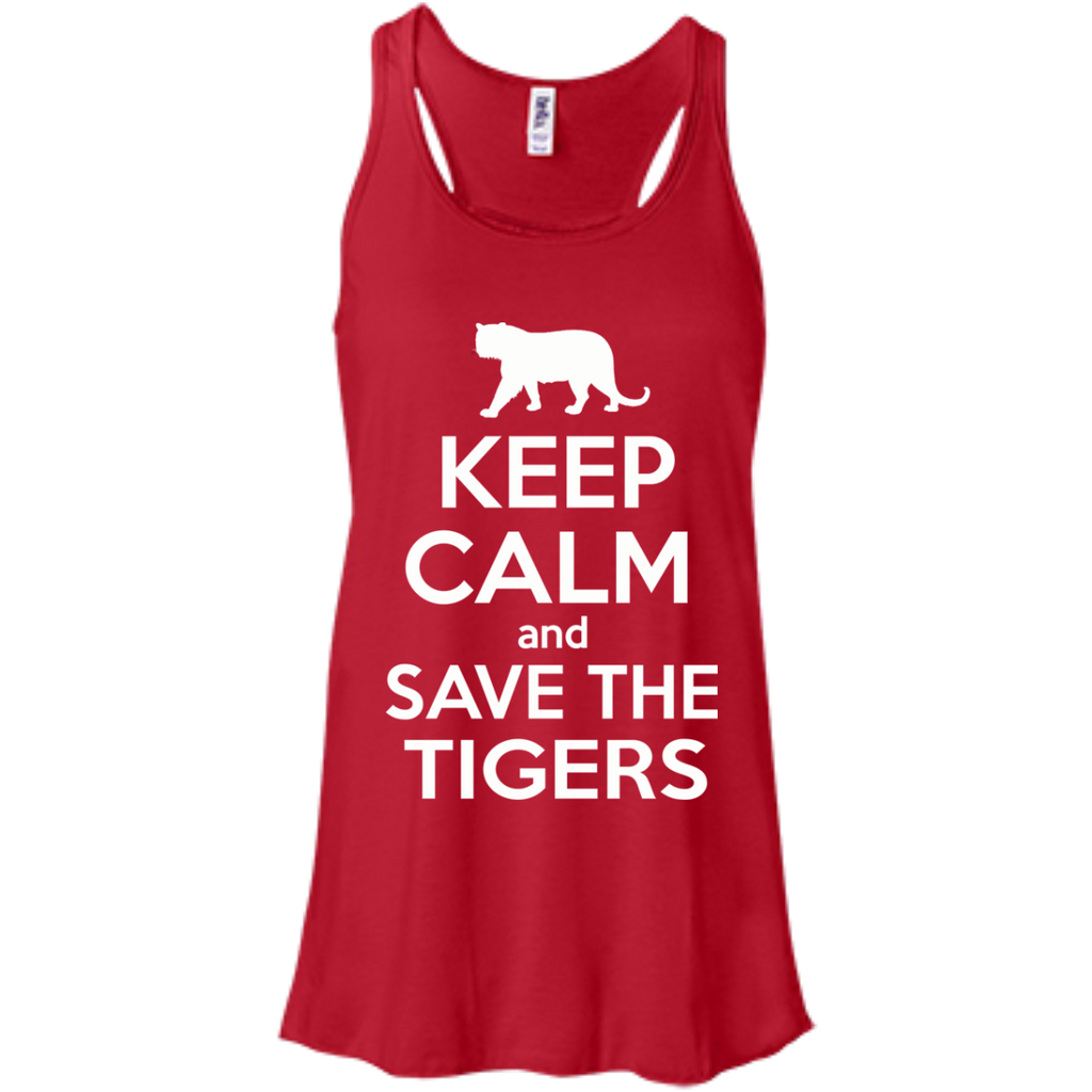 Keep Calm And Save the Tigers Awareness Women's Flowy Tank Top