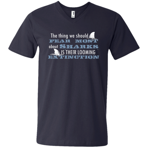 The Thing we Should Fear Most About Sharks is Their Looming Extinction Men's V-Neck T-Shirt