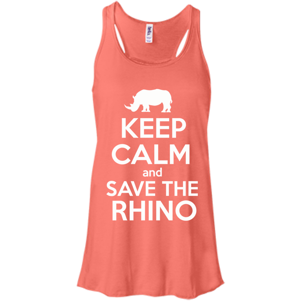 Keep Calm and Save the Rhino Flowy Tank Top