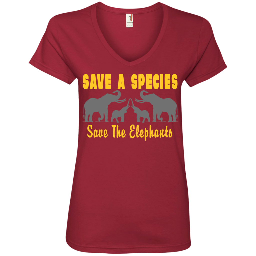 Save the Species Save the Elephants Awareness Women's V-Neck T-Shirt
