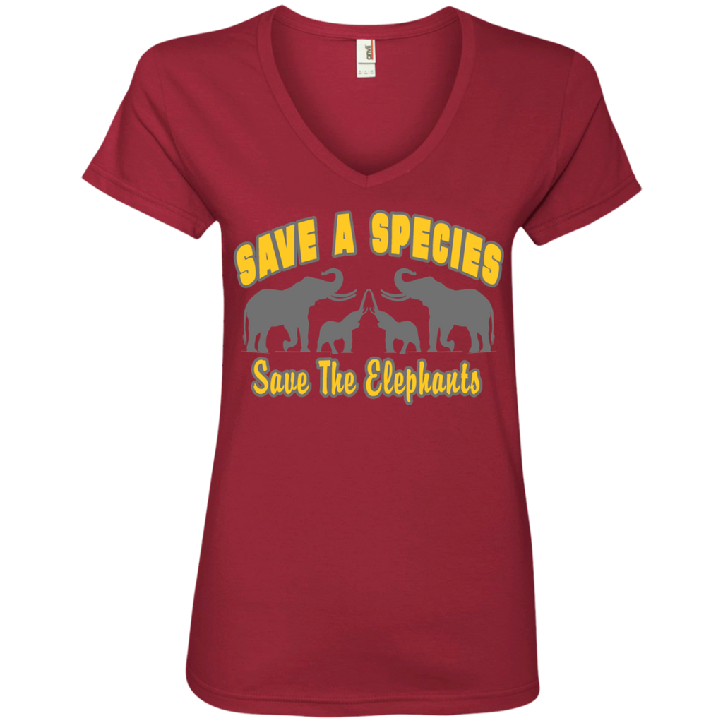 Save A Species Save the Elephants Awareness Women's V-Neck T-Shirt
