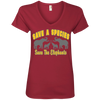 Image of Save A Species Save the Elephants Awareness Women's V-Neck T-Shirt