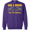 Image of Save the Species Save the Elephants Awareness Sweatshirt