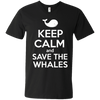Image of Keep Calm And Save the Whales Mens V-Neck T-Shirt