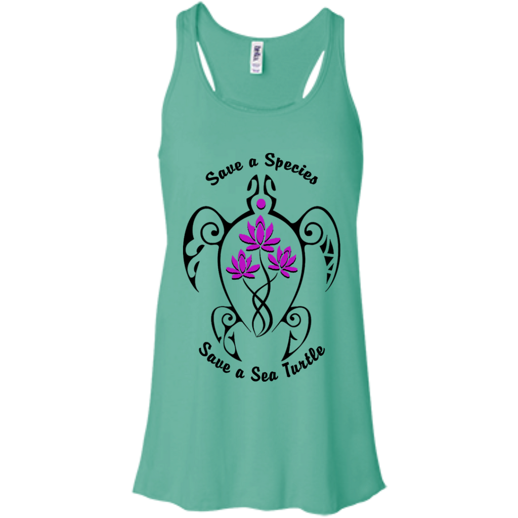 Save a Species Save the Sea Turtle Awareness Women's Flowy Tank Top