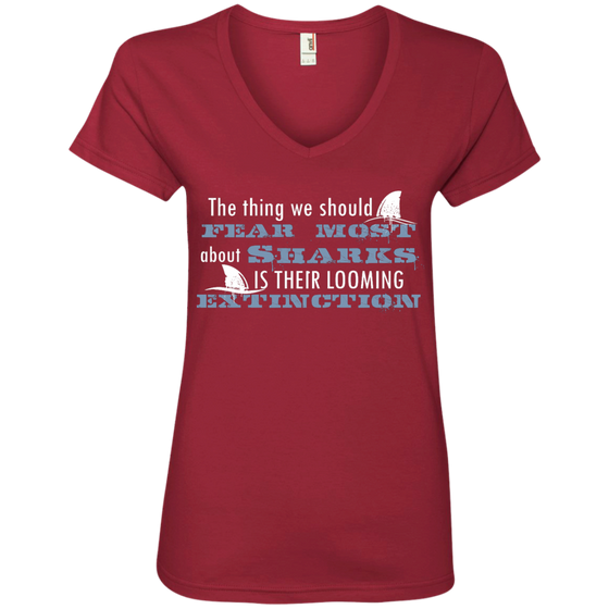 The Thing we Should Fear Most About Sharks is There Looming Extinction Women's V-Neck T-Shirt