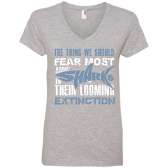 The Thing we Should Fear Most About Sharks is Their Looming Extinction Women's V-Neck T-Shirt
