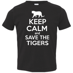 Keep Calm And Save the Tigers Awareness Toddler Jersey T-Shirt