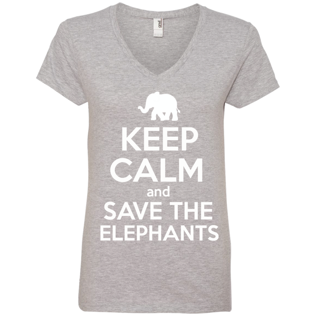 Keep Calm and Save the Elephants Women's V-Neck T-Shirt