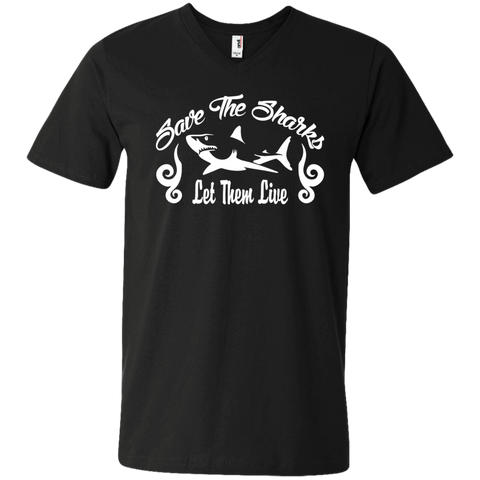 Save the Sharks Let Them live Men's V-Neck T-Shirt
