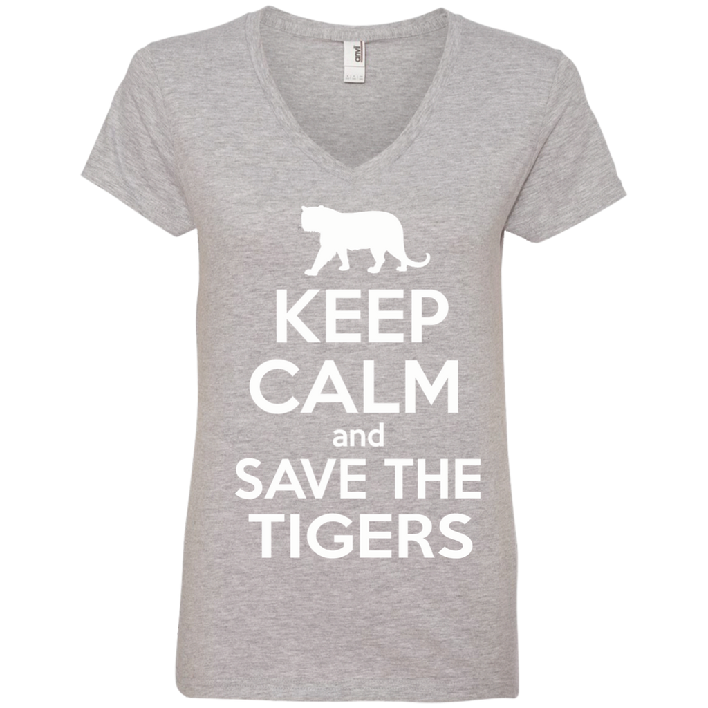 Keep Calm And Save the Tigers Awareness Women's V-Neck T-Shirt