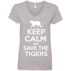 Image of Keep Calm And Save the Tigers Awareness Women's V-Neck T-Shirt
