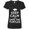 Image of Keep Calm And Save the Turtles Women's V-Neck T-Shirt