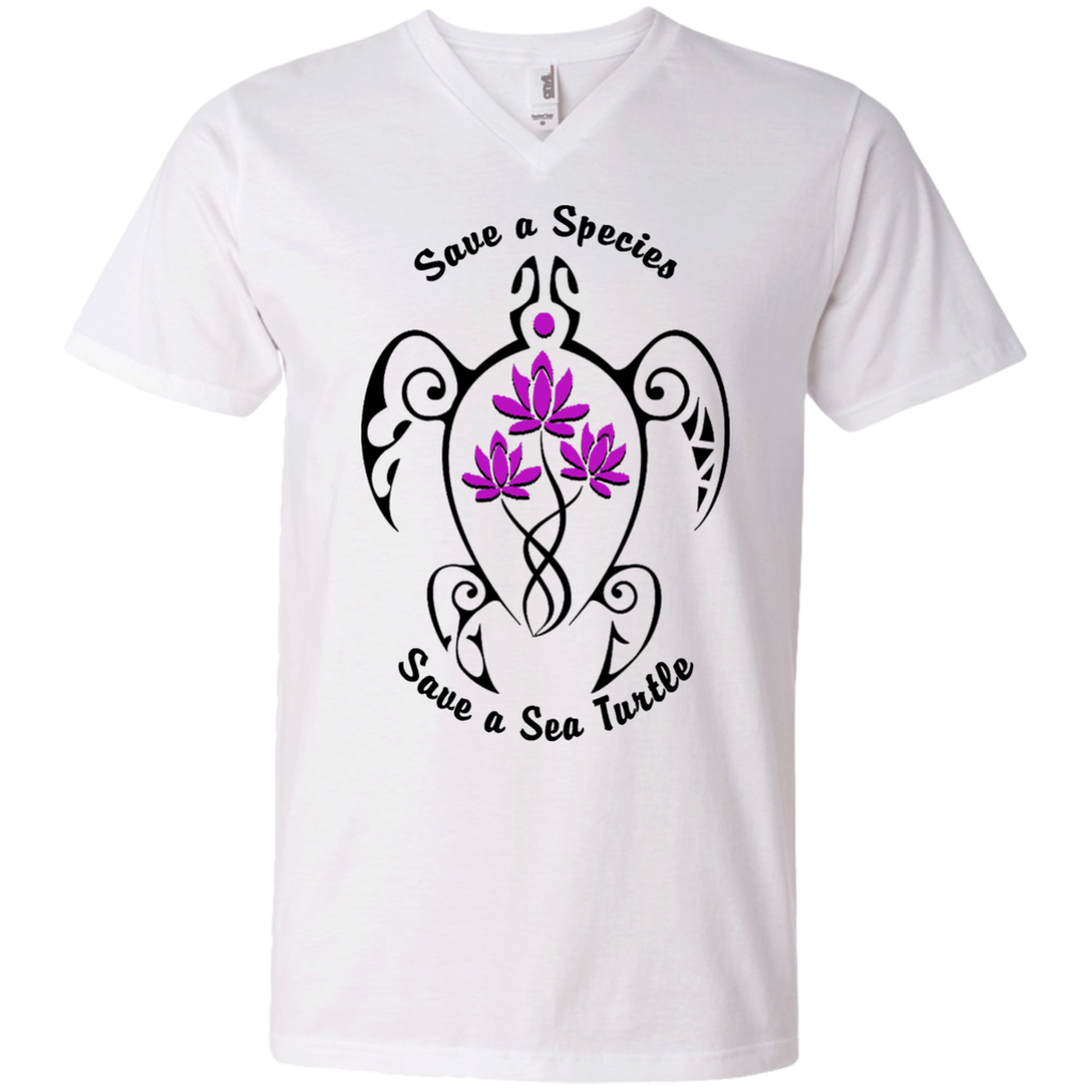 Save a Species Save the Sea Turtle Awareness Men's V-Neck T-Shirt