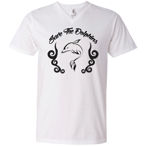 Save The Dolphins Awareness Men's V-Neck T-Shirt