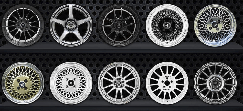 enkei rims and wheels for sale are on display on shelft