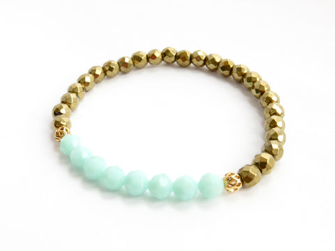 Mint Blue And Gold Bracelet