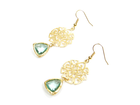 Abstract Green Earrings