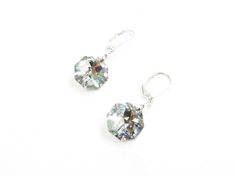 Silver Octagon Swarovski Earrings