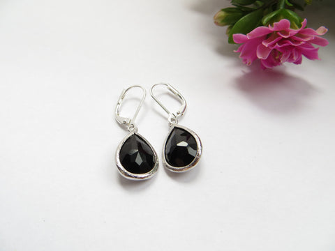 Simple Black Pear Earrings