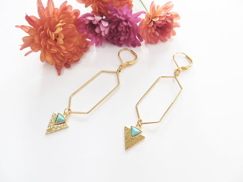 Long Abstract Earrings - Gold