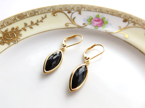 Black Marquise Earrings