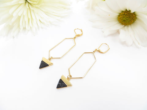 Howlite Long Earrings - Gold