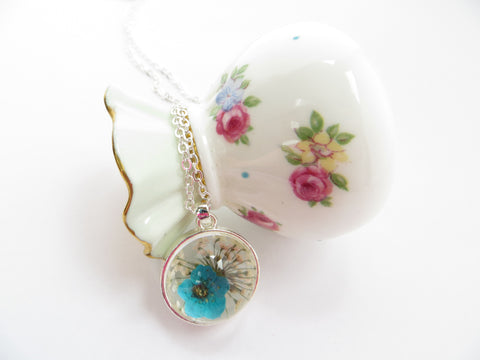 Real Flower Necklace -Forget Me Not Flower