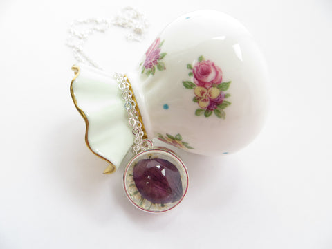 Real Flower Necklace - Purple Hydrangea