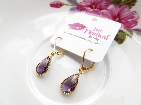 Amethyst Pear Earrings