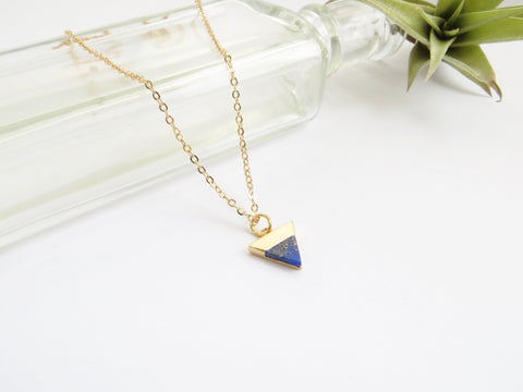 Lapis Blue Triangle Necklace