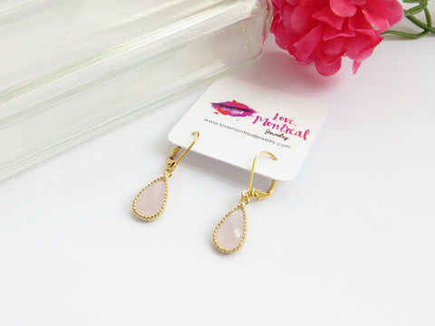 Pink Pear Earrings