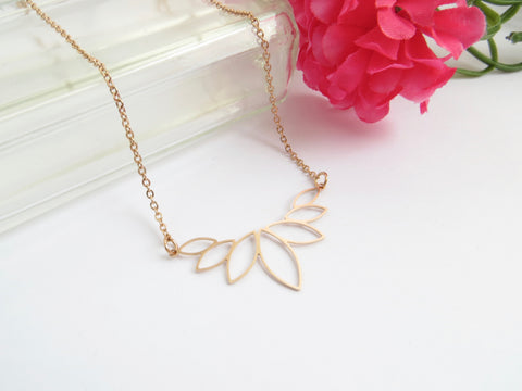 Lotus Necklace in Rose Gold